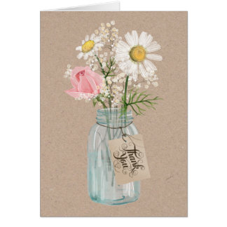 Rustic Country Burlap and Mason Jar Flowers Card