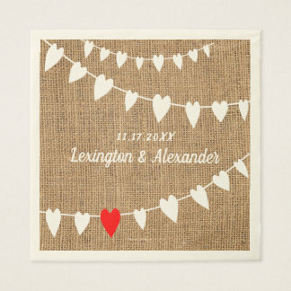 Rustic Country Burlap and String Of Hearts Wedding Napkin