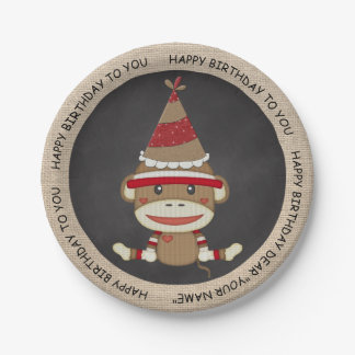 Rustic Country Burlap Birthday Sock Monkey Paper Plate