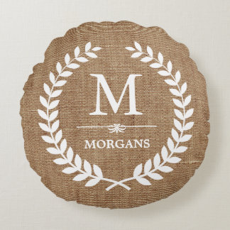 Rustic Country Burlap Chic Laurel Wreath Monogram Round Pillow