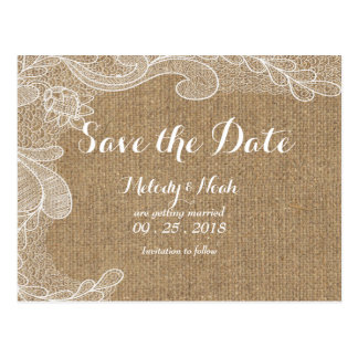 Rustic  Country Burlap Lace Save The Date Wedding Postcard