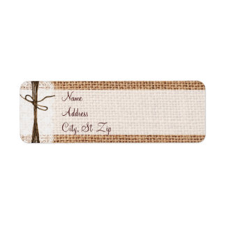 Rustic Country Burlap Lace Twine  Address Labels