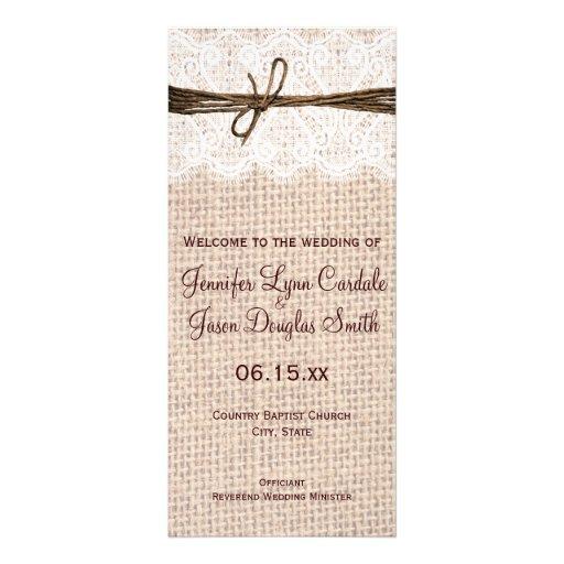 Rustic Country Burlap Lace Twine Wedding Program Rack Cards