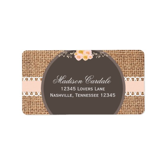Rustic Country Burlap Lace Wedding Address Labels