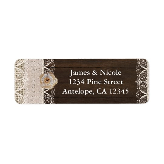 Rustic Country Burlap Lace & Wood Address Labels
