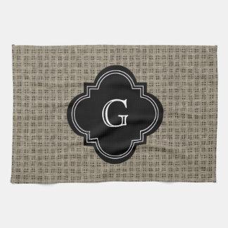 Rustic Country Burlap Look, Black Monogram Label Kitchen Towel