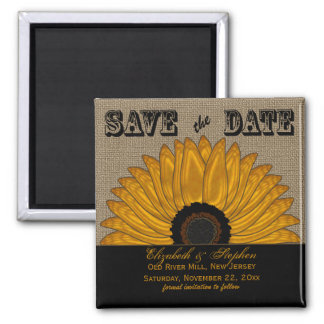Rustic Country Burlap Look Sunflower Save the Date Magnet