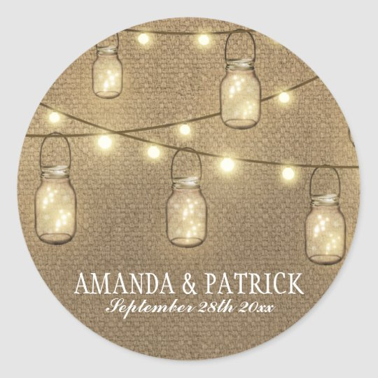 Rustic Country Burlap Mason Jar Wedding Favours Classic Round Sticker