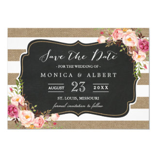 Rustic Country Burlap Stripes Floral Save the Date Card
