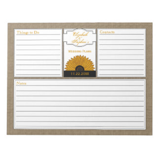 .Rustic Country Burlap Sunflower Wedding Planner Notepad