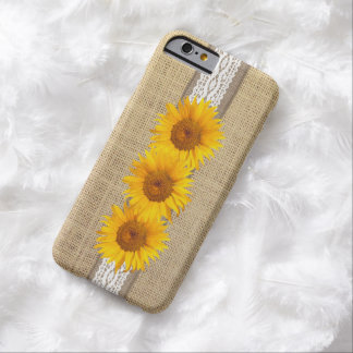 Rustic Country Burlap & Sunflowers Barely There iPhone 6 Case