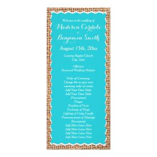 Rustic Country Burlap Turquoise Wedding Programs Custom Rack Card