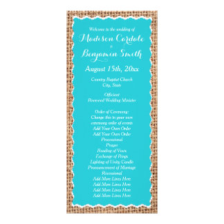 Rustic Country Burlap Turquoise Wedding Programs Custom Rack Cards