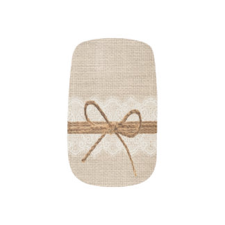 Rustic Country Burlap Twine Wedding Nail Art