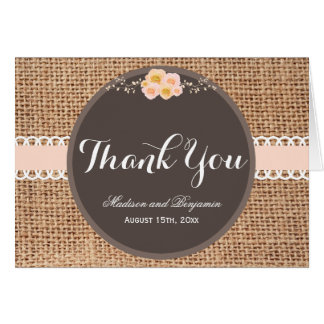 Rustic Country Burlap Wedding Thank You Cards