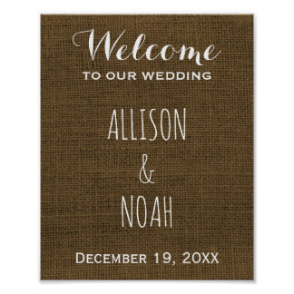 Rustic Country Burlap | Welcome Wedding Sign Poster