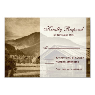 Rustic Country Cabin Mountain Wedding RSVP Cards Invitations