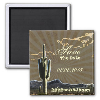 Rustic country cactus wedding save the date magnet