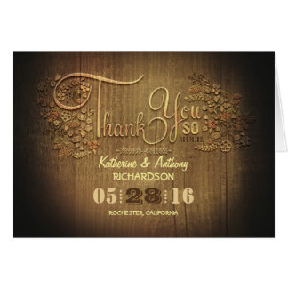 Rustic country calligraphy wedding thank you cards