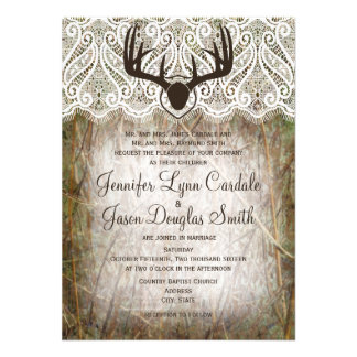 Rustic Country Camo Hunting Antlers Wedding Invite