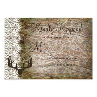 Rustic Country Camo Hunting Antlers Wedding RSVP Announcement