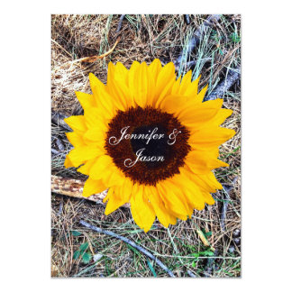 Rustic Country Camo Sunflower Wedding Invitations