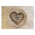 Rustic Country Carved Heart Tree Wedding Card