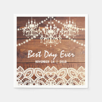 RUSTIC COUNTRY CHANDELIER WEDDING | BARN LACE PAPER NAPKINS
