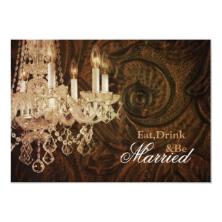 rustic country chandelier wedding Rehearsal Dinner Card
