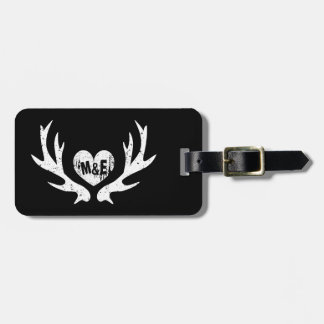 Rustic country chic deer antler travel luggage tag