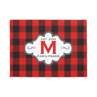 Rustic Country Chic Red Buffalo Plaid Monogrammed Doormat
