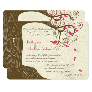 Rustic Country Chic Tree Pink Birds Weddings Card