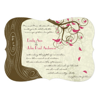 Rustic Country Chic Tree Pink Birds Weddings Invitation