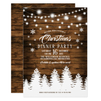Rustic Country Christmas Dinner Party Invitation