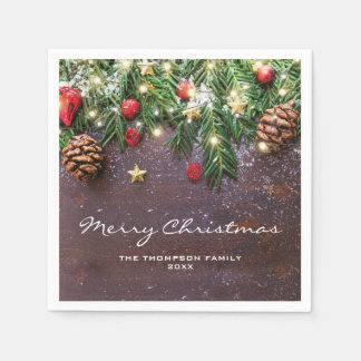 Rustic Country Christmas Holiday Party Disposable Napkins