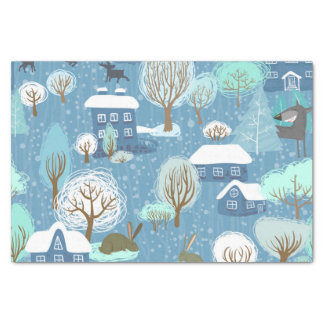 Rustic Country Christmas Light Blue & White Tissue Paper