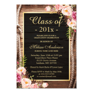 Rustic Country Class of 2017 Graduate Wood Floral Card