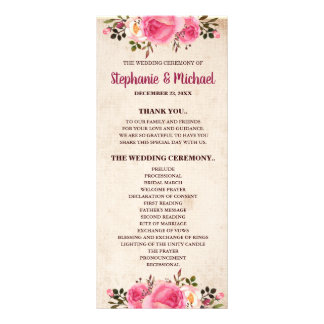 Rustic Country Classy Floral Wedding Program