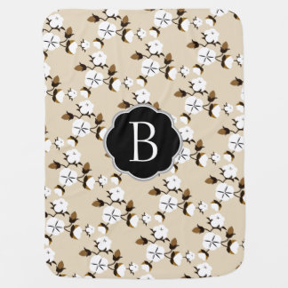 Rustic Country Cotton Flowers & Baby's Initial Baby Blanket