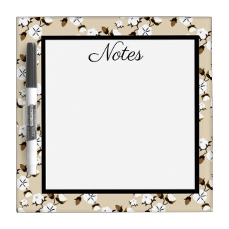Rustic Country Cotton Flowers Dry Erase Board