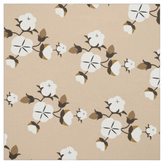 Rustic Country Cotton Flowers Fabric