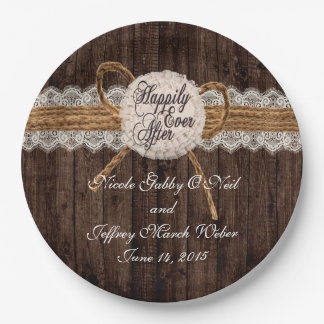 Rustic Country Couple Photo Wedding Dinner Paper Plate