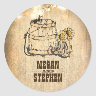 Rustic Country Cowboy Boots Barn Lights Wedding Classic Round Sticker