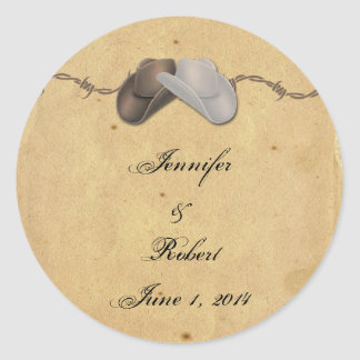 Rustic Country Cowboy Hats Barbed Envelope Seal Round Sticker