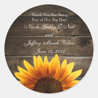 Rustic Country Custom Wedding Wood & Sunflowers Round Sticker