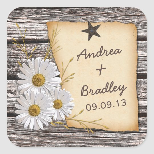 Rustic Country Daisy Wedding Envelope Seal