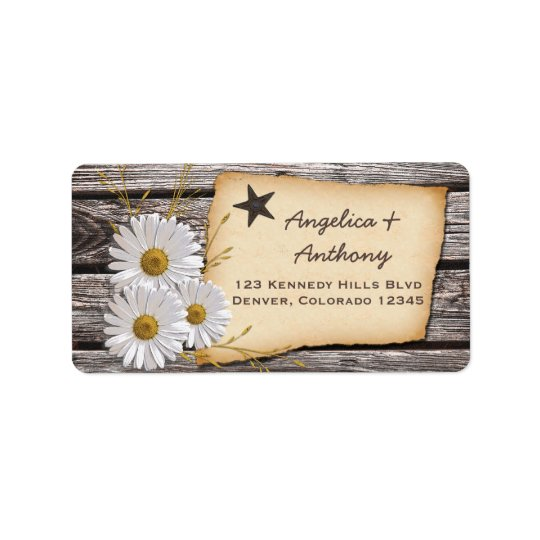 Rustic Country Daisy Wedding Return Address Labels