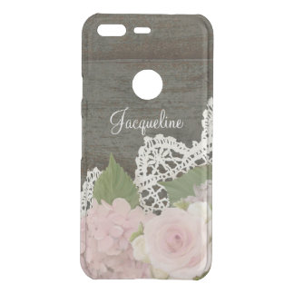 Rustic Country Dark Wood Pink Hydrangeas with Name Uncommon Google Pixel Case