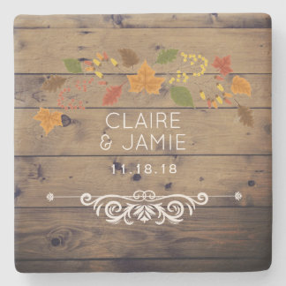 Rustic Country Fall Wedding Leaves Wood Monogram Stone Coaster