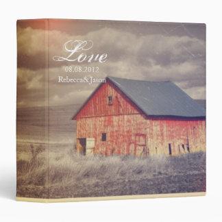 Rustic country farm red barn wedding binders
